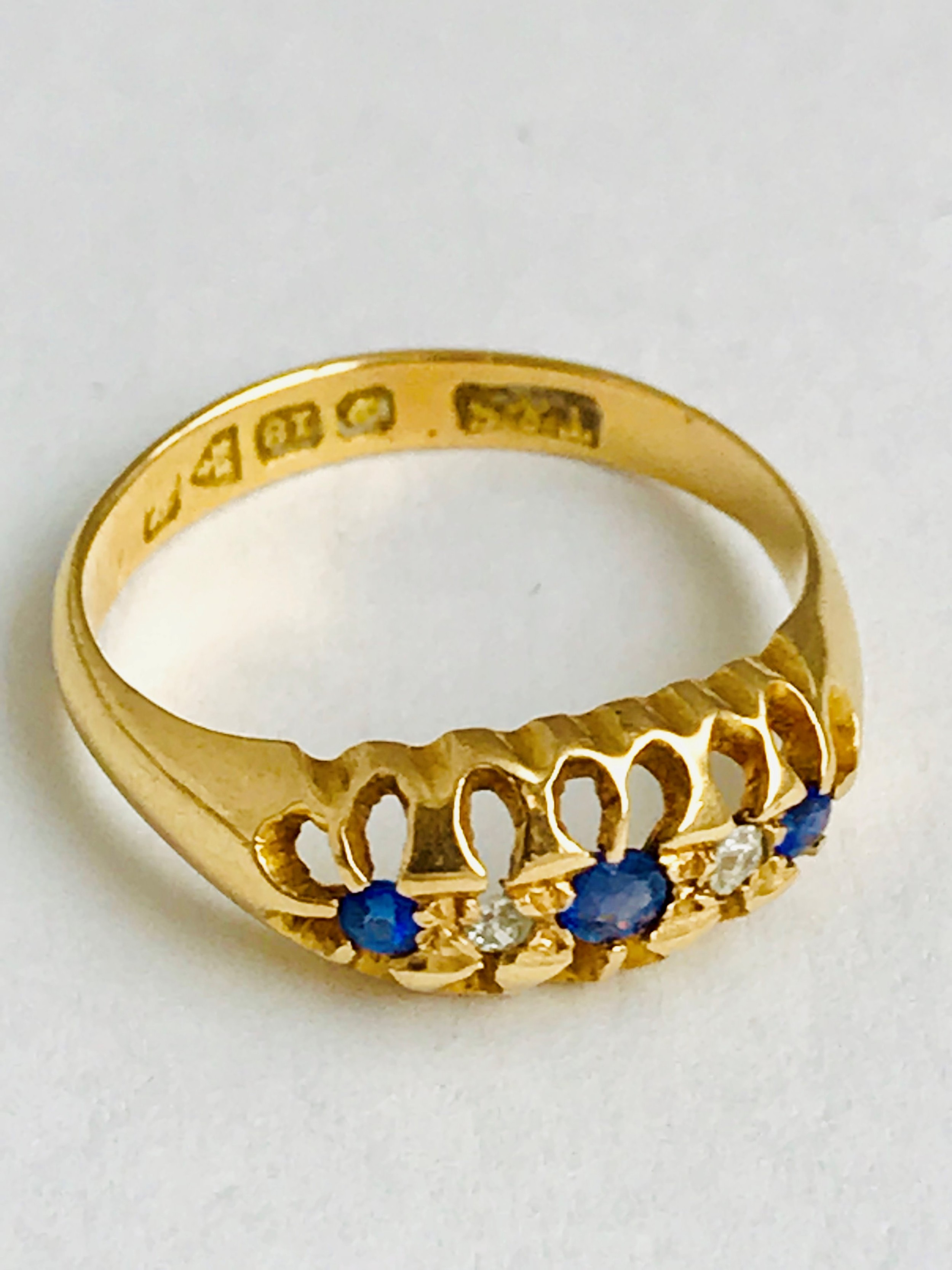 lovely 18ct gold sapphire and diamond ring chester 1918