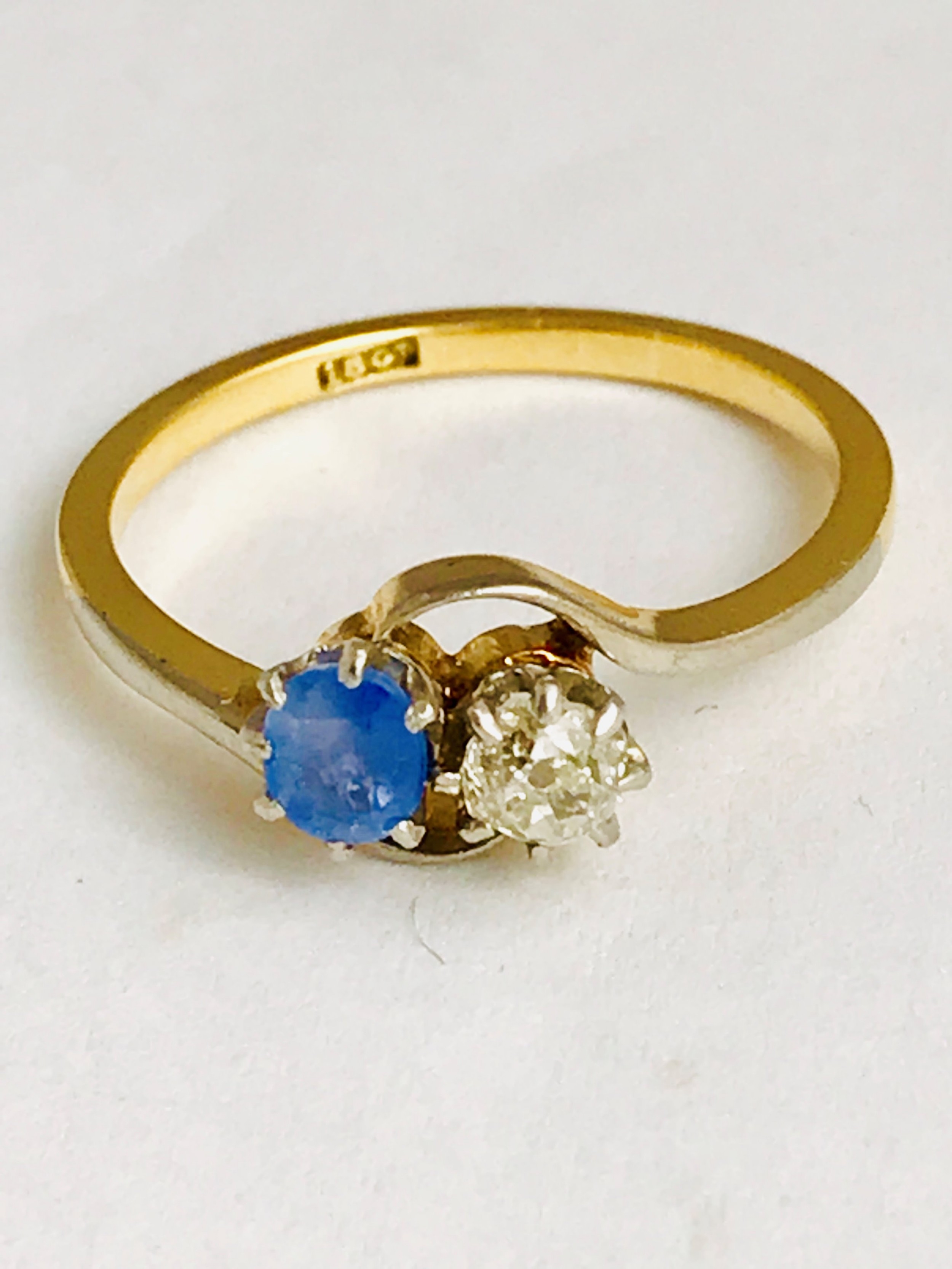art deco 18ct gold sapphire old cut diamond 2 stone ring