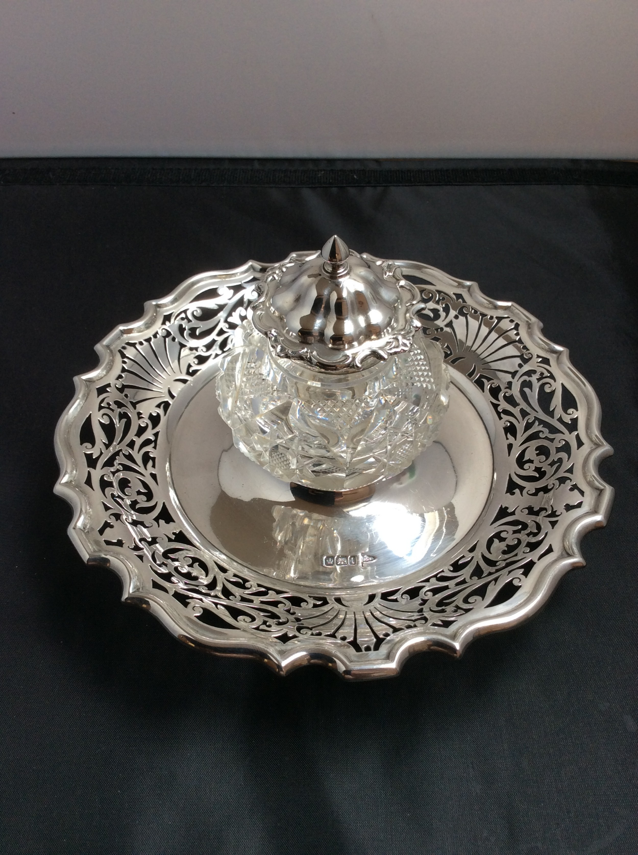 super quality edwardian solid silver inkwell and stand