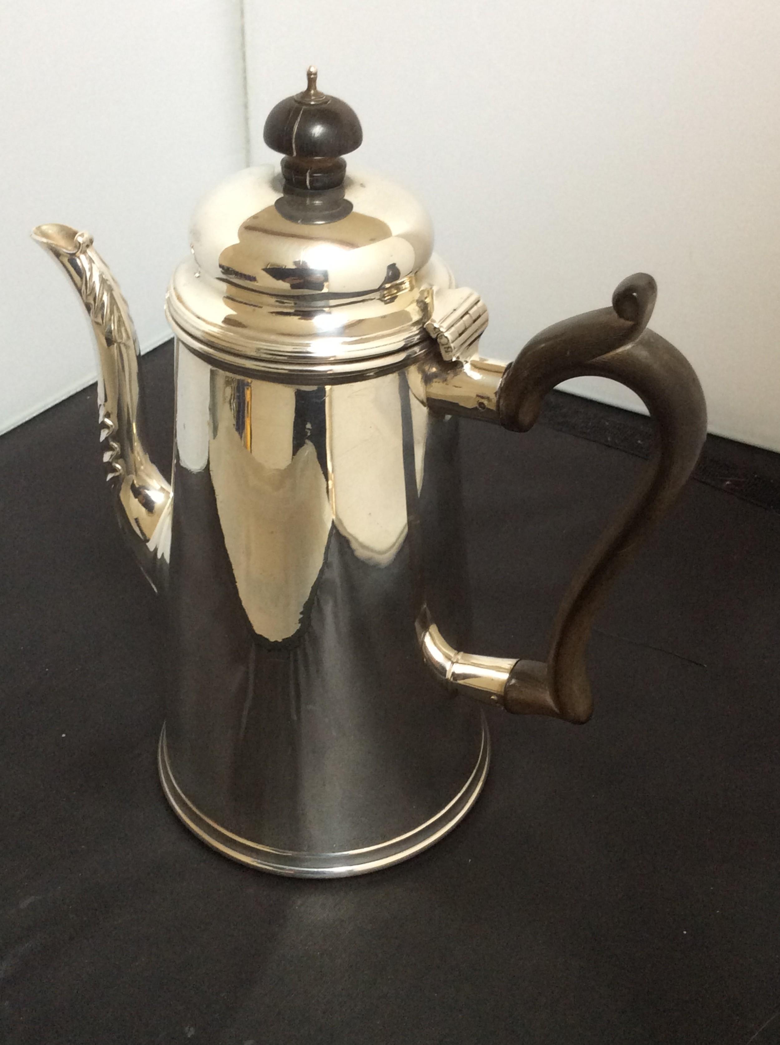 solid silver edwardian coffee pot