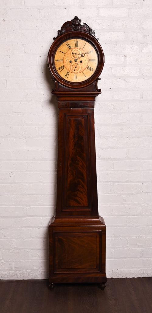 superb scottish drum head longcase clock by ingram and son ayr
