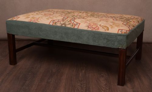 Antiques Edwardian Footstool With Tapestry Top Up-To-Date Styling