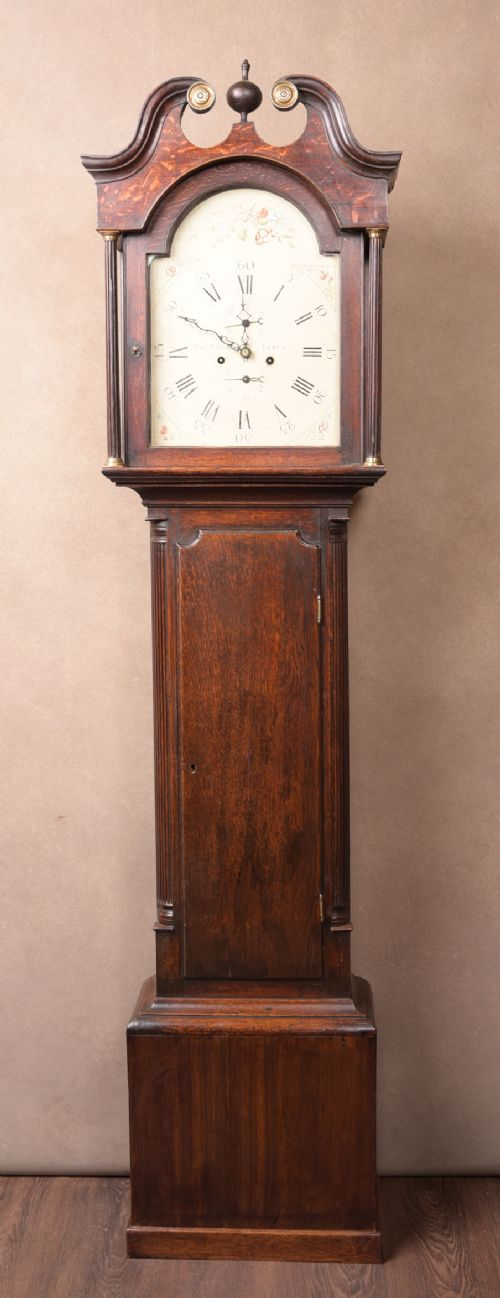 neat proportioned scottish oak lockcase clock by alex macfarlaine of perth