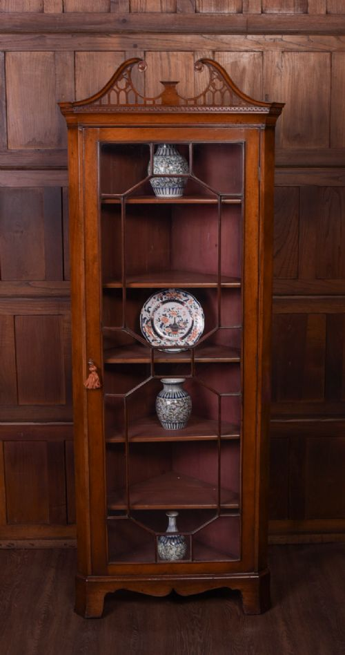 fabulous full size edwardian mahogany corner cabinet