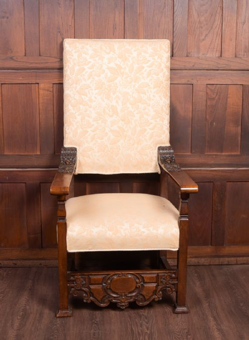 superb 19th century carved walnut throne chair