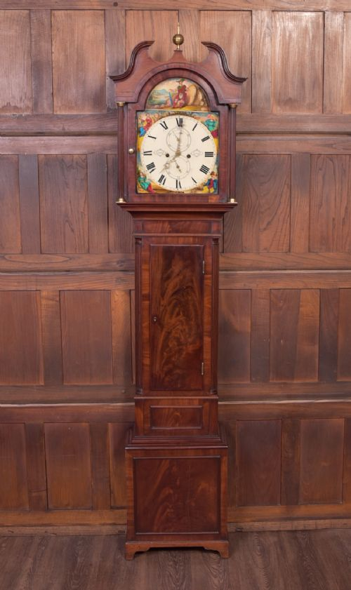 superb scottish mahogany 8 day long case clock by baxter of dundee