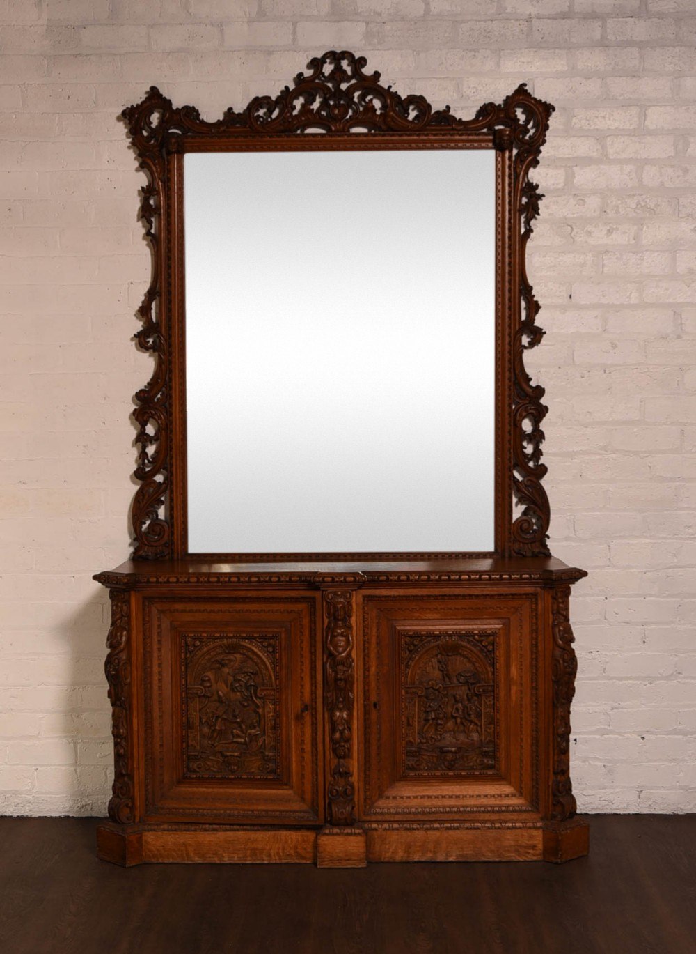 Impressive Carved Oak Console Cabinet With Mirror | 505537 ...