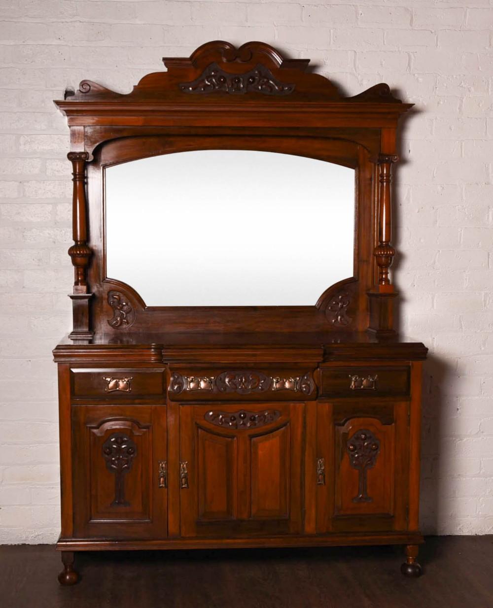 stunning solid walnut art nouveau mirror back sideboard