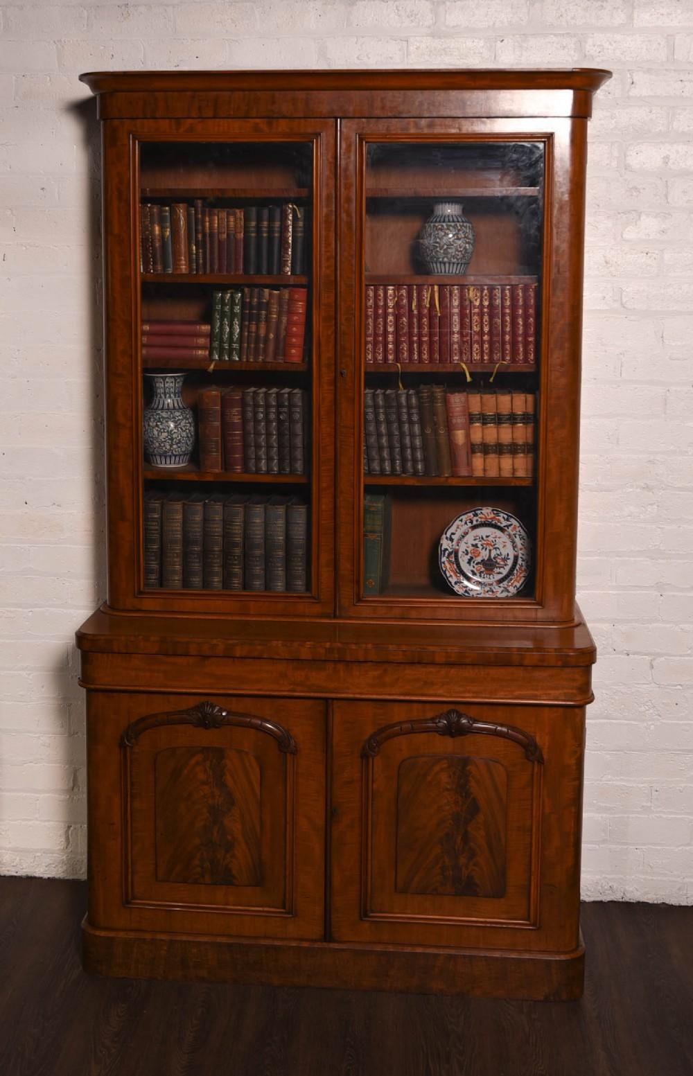 stunning victorian mahogany 2 door bookcase