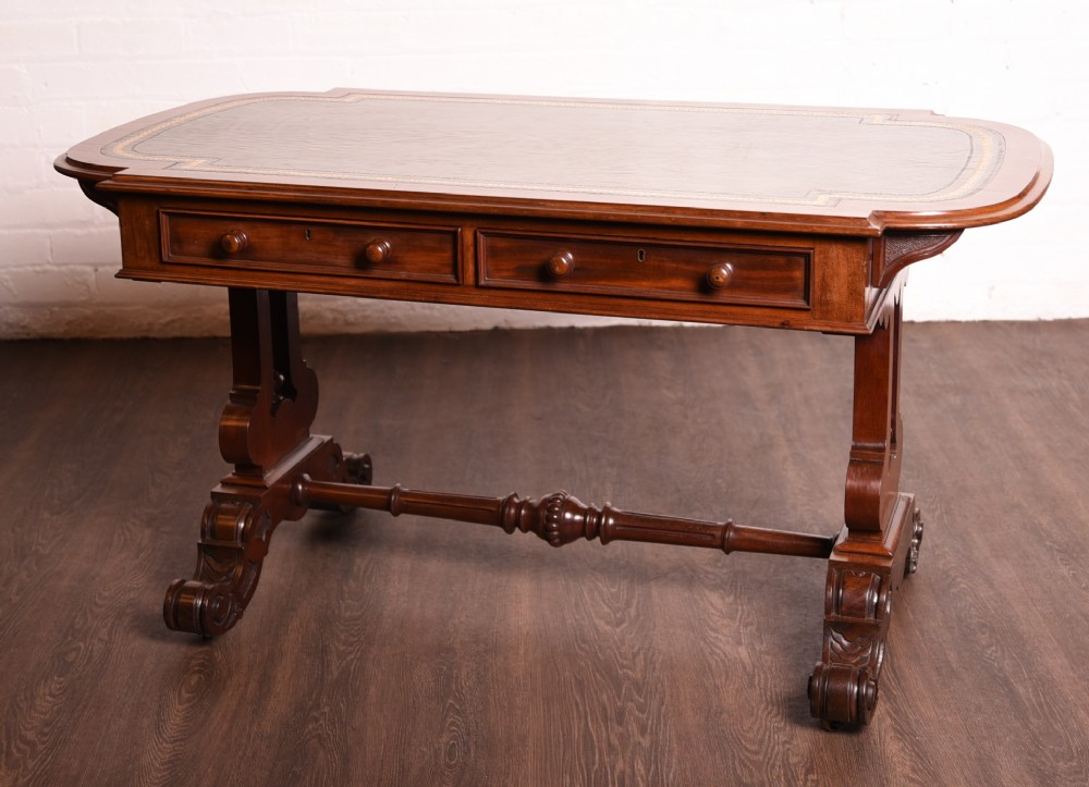 stunning quality victorian leather top writing desk