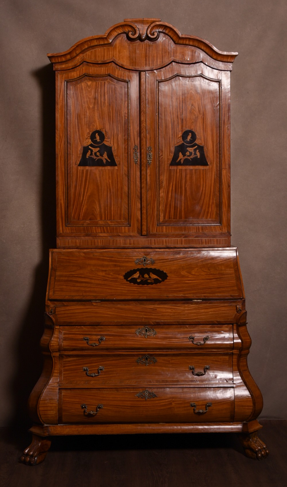 outstanding 18th century dutch satinwood inlaid bombe bureau bookcase