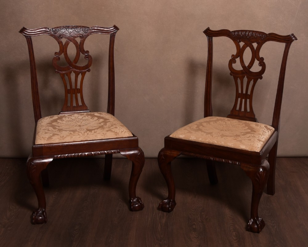 handsome pair of chippendale style chairs