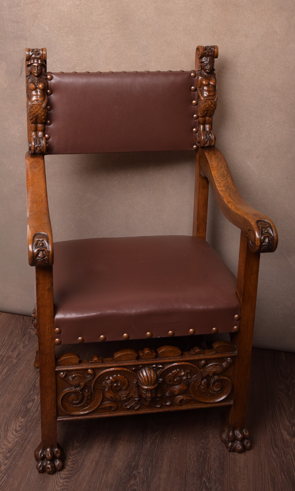 outstanding victorian carved oak arm chair