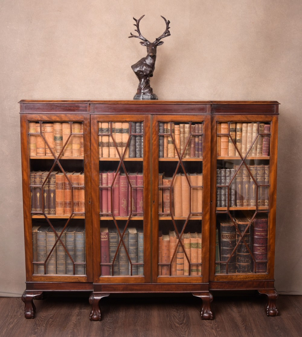 edwardian mahogany 4 door break front bookcase
