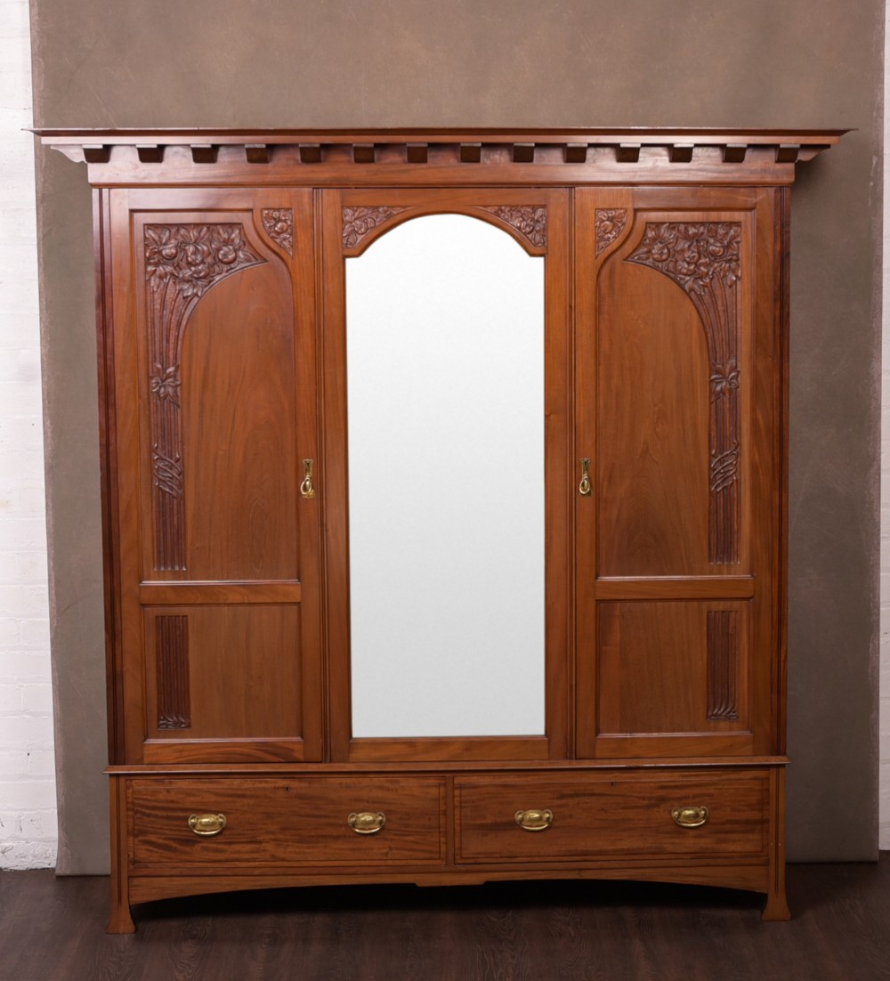 stunning walnut art nouveau triple mirror door wardrobe