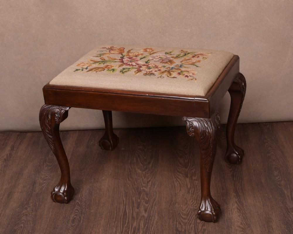 edwardian mahogany claw and ball feet upholstered stool