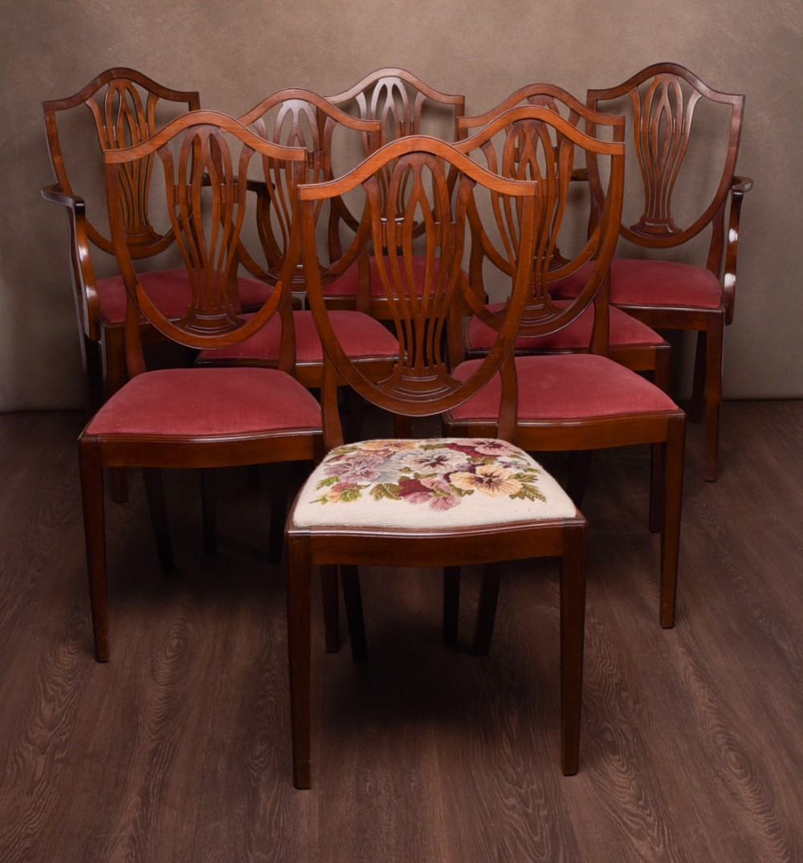 Set Of 8 Edwardian Hepplewhite Design Mahogany Dining Room Chairs