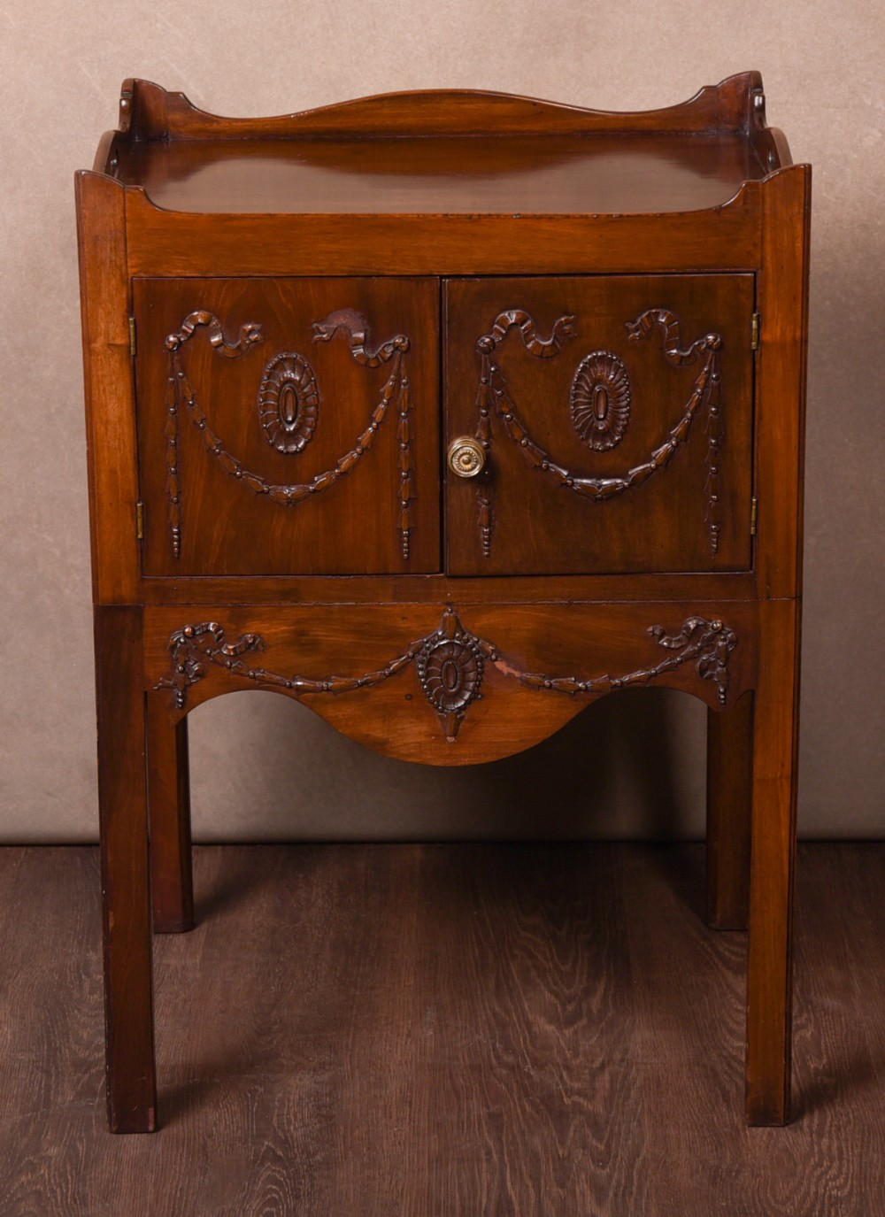 19th century adams style mahogany bedside cabinet