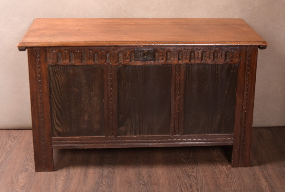 19th century oak paneled coffer blanket box
