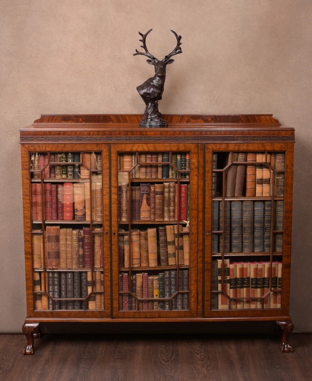 excellent quality edwardian mahogany 3 door bookcase