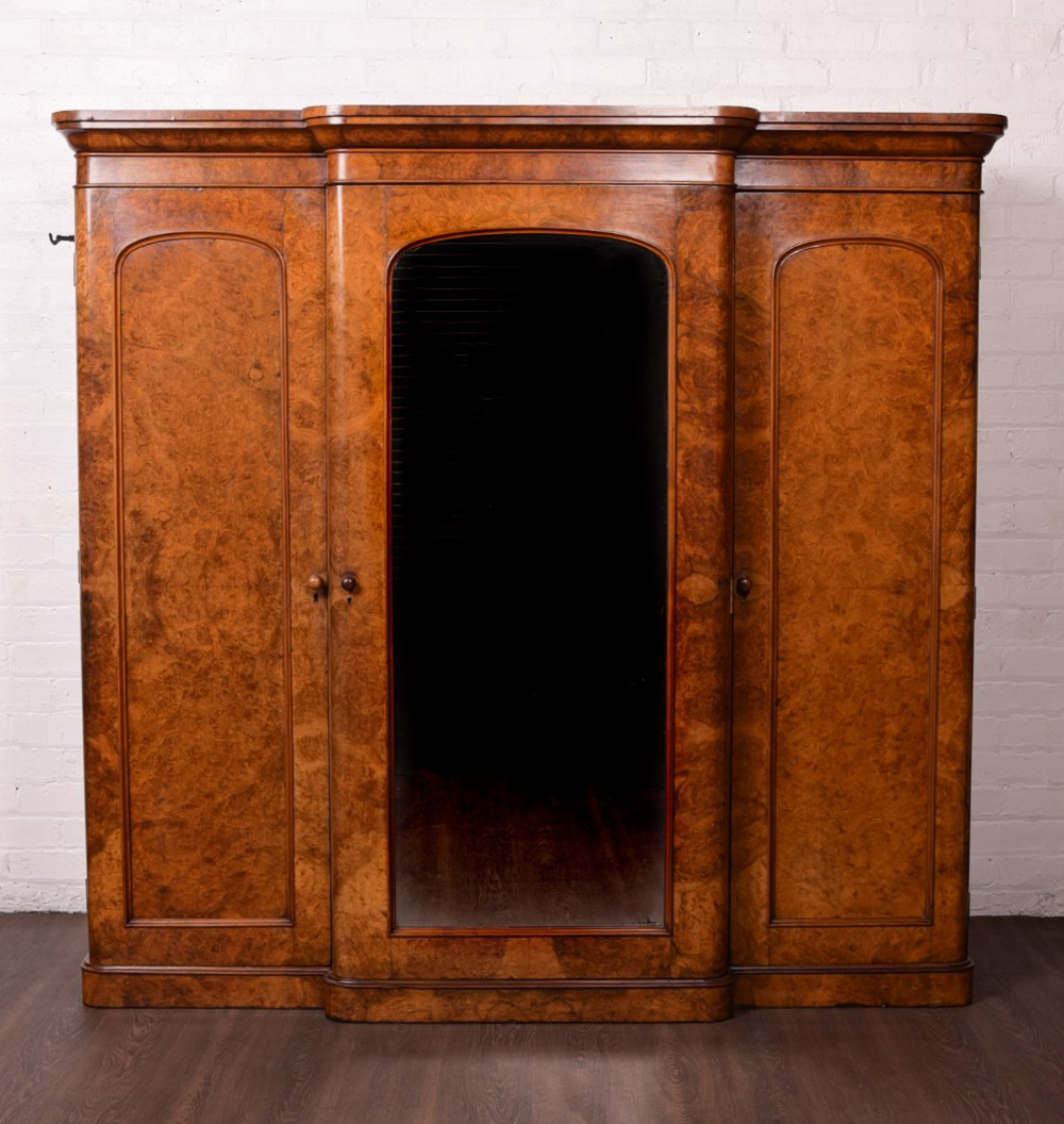 victorian breakfronted burr walnut mirror door wardrobe