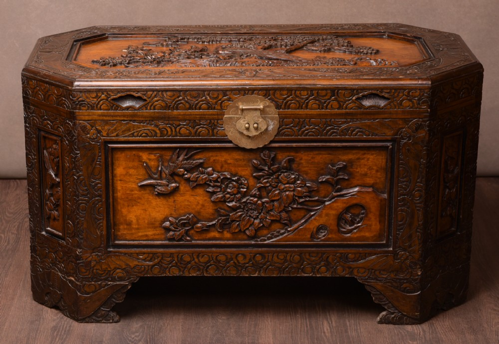 unusual shaped chinese carved camphor wood chest
