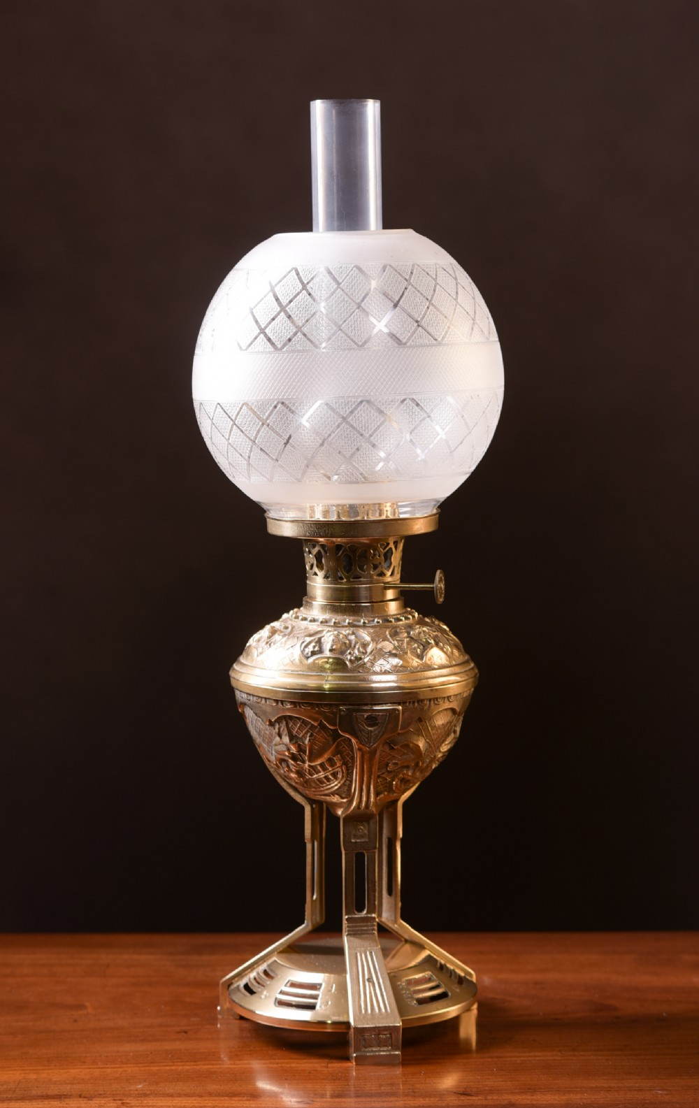 an unusual cast brass arts and crafts paraffin oil lamp
