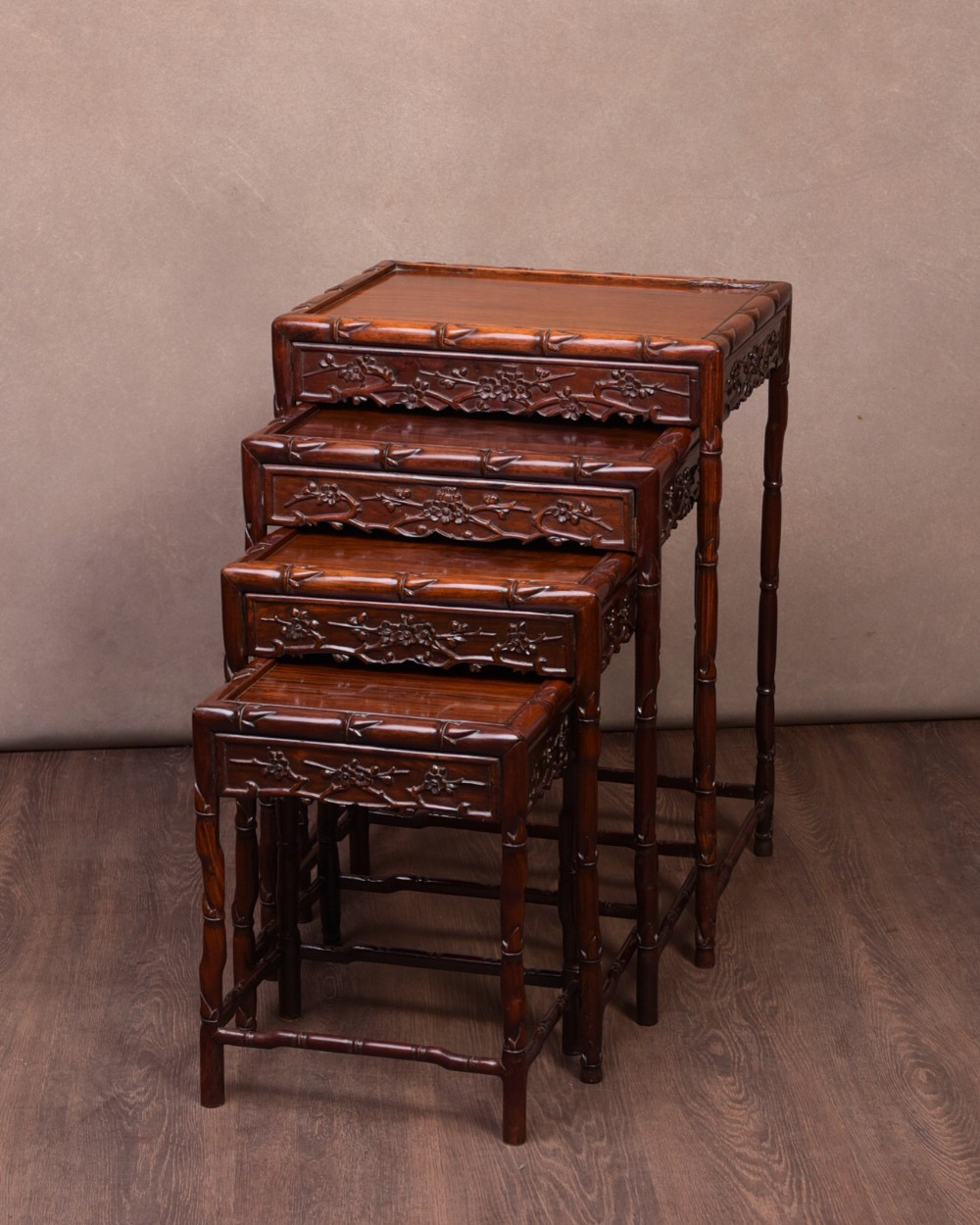 fabulous set of 4 late 19th century chinese nest of tables
