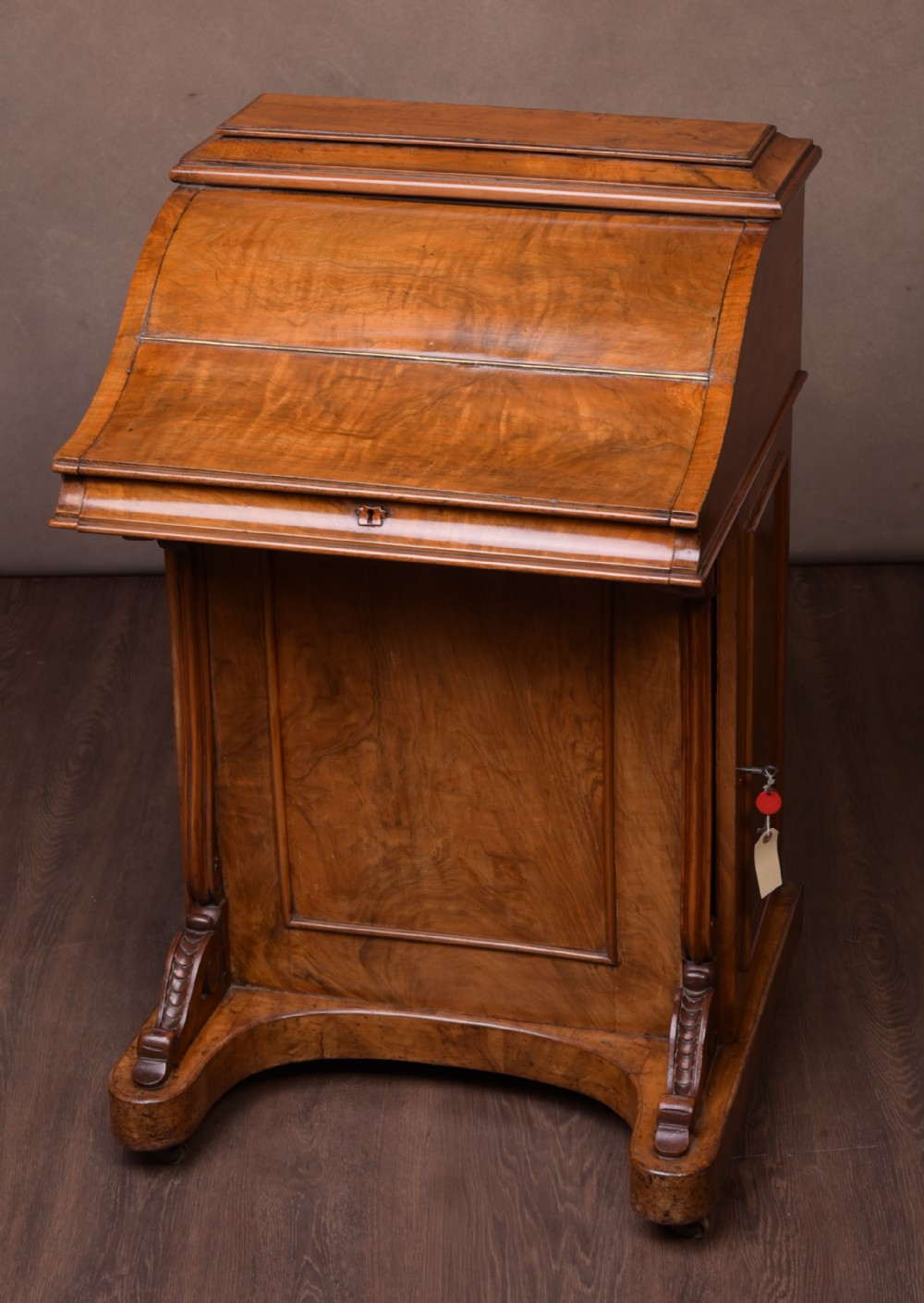 victorian walnut piano top pop up davenport