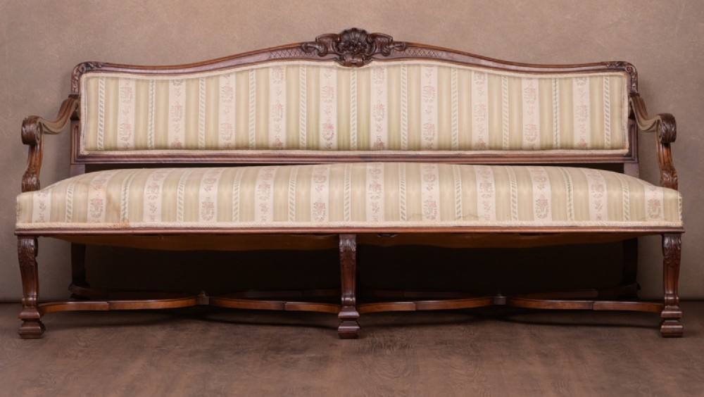 stunning quality carved walnut settee