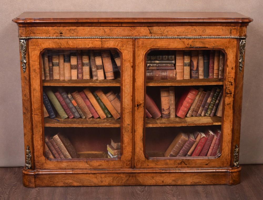 superb victorian walnut 2 door bookcase