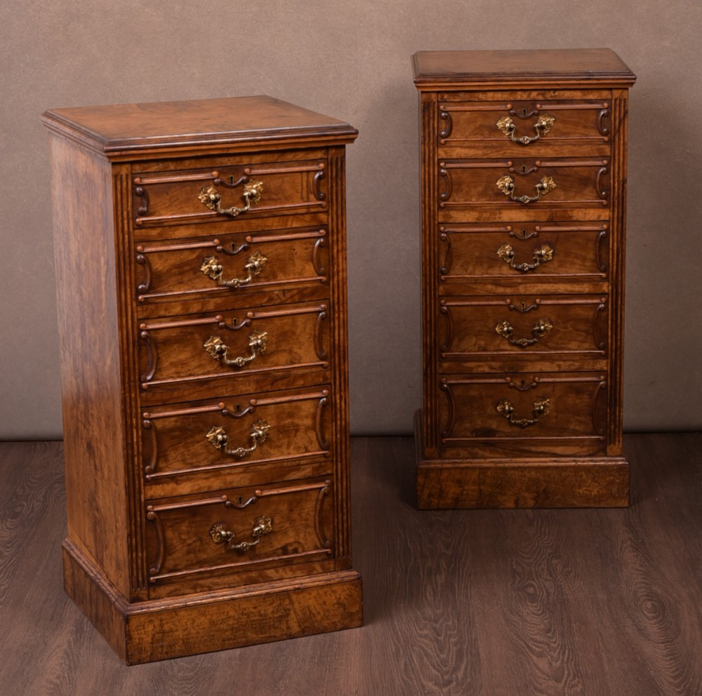 fantastic pair of victorian walnut bedside cabinets