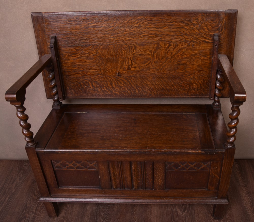 quality solid oak monks bench