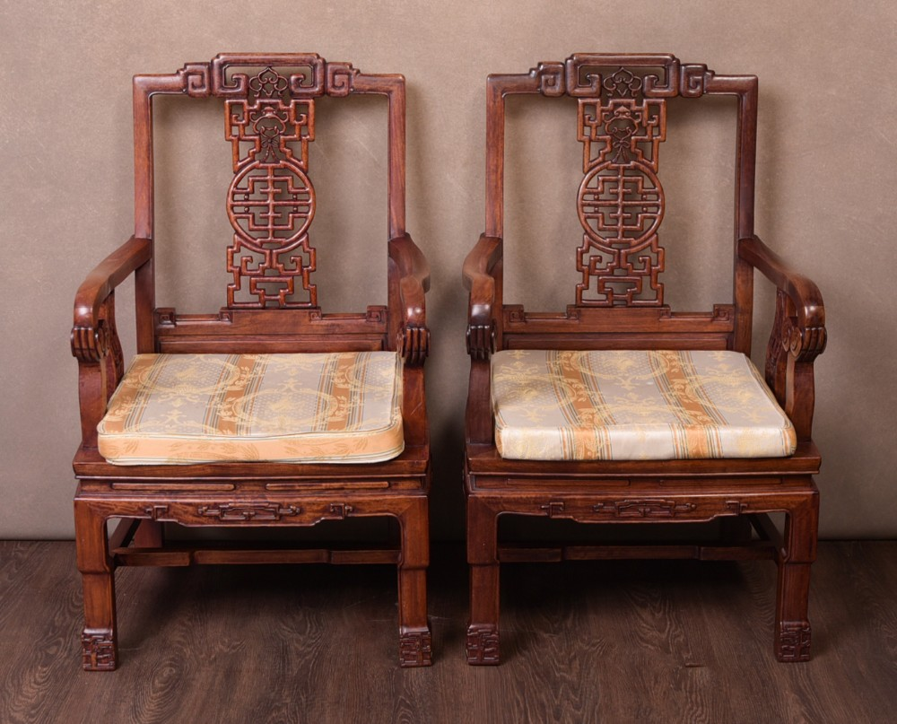 fantastic pair of chinese hardwood arm chairs