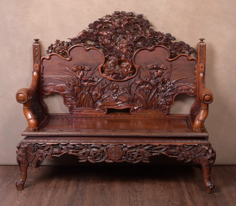 superb japanese carved bench