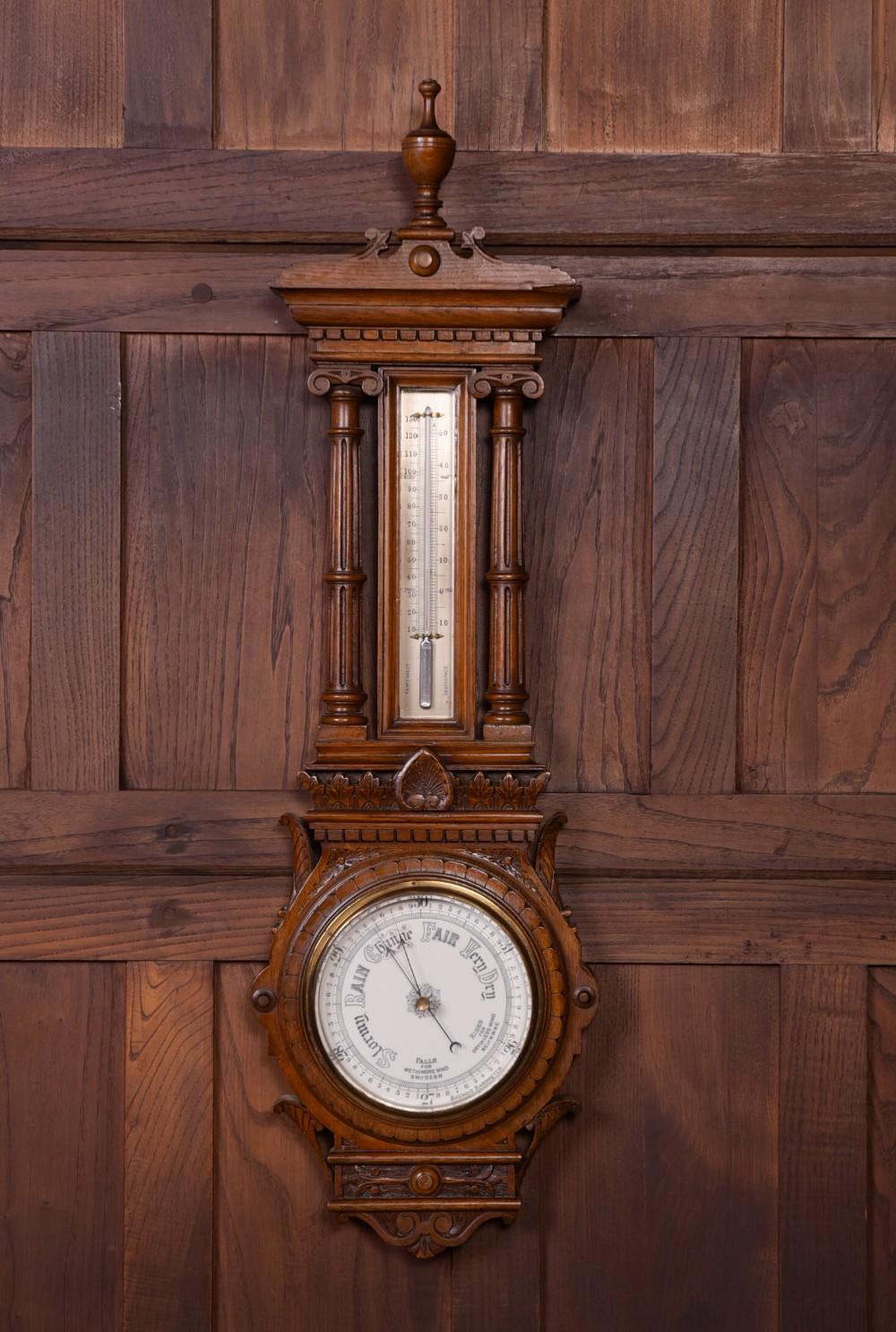 impressive carved oak victorian aneroid barometer