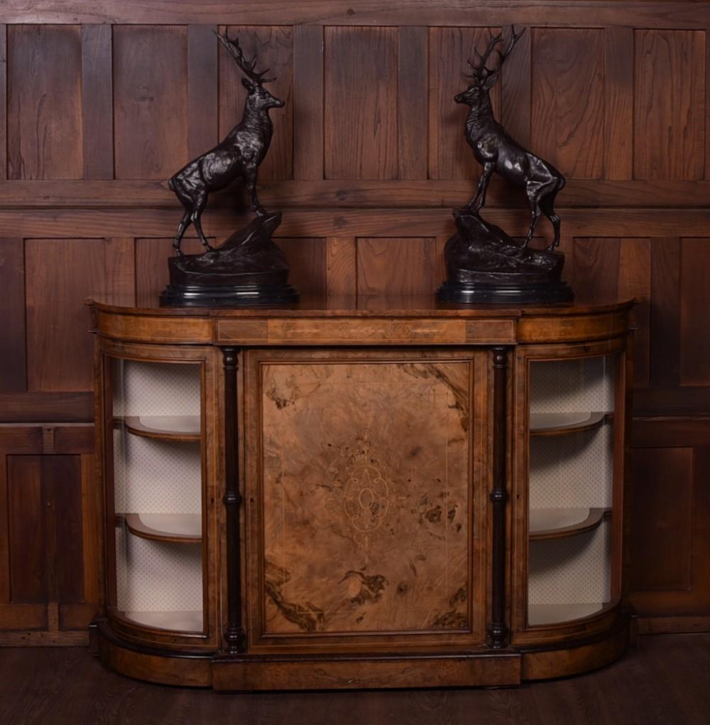 victorian inlaid walnut credenza