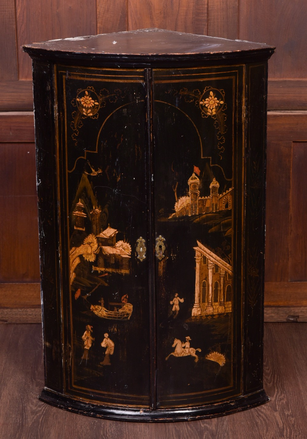 georgian bow front chinoiserie corner cabinet