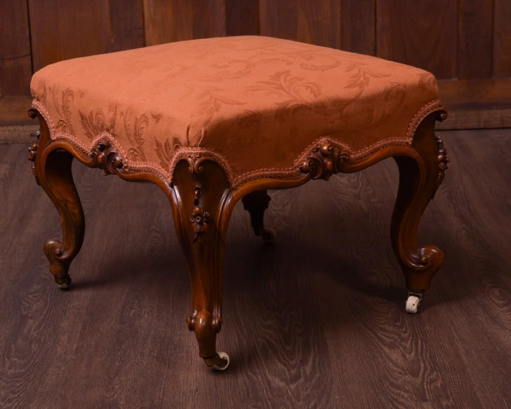 superb victorian carved walnut cabriole leg stool