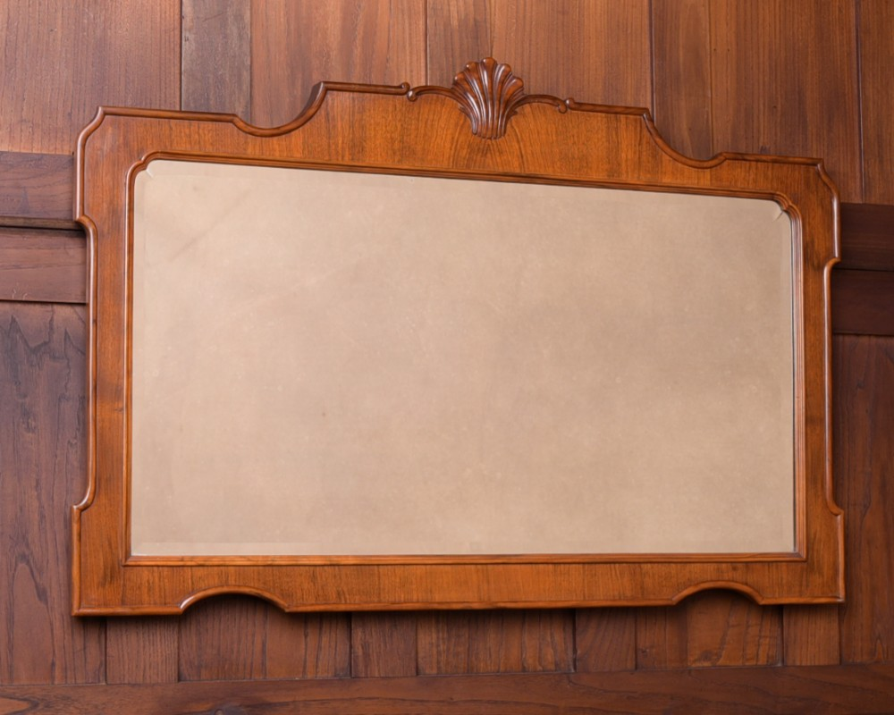 quality edwardian walnut wall mirror
