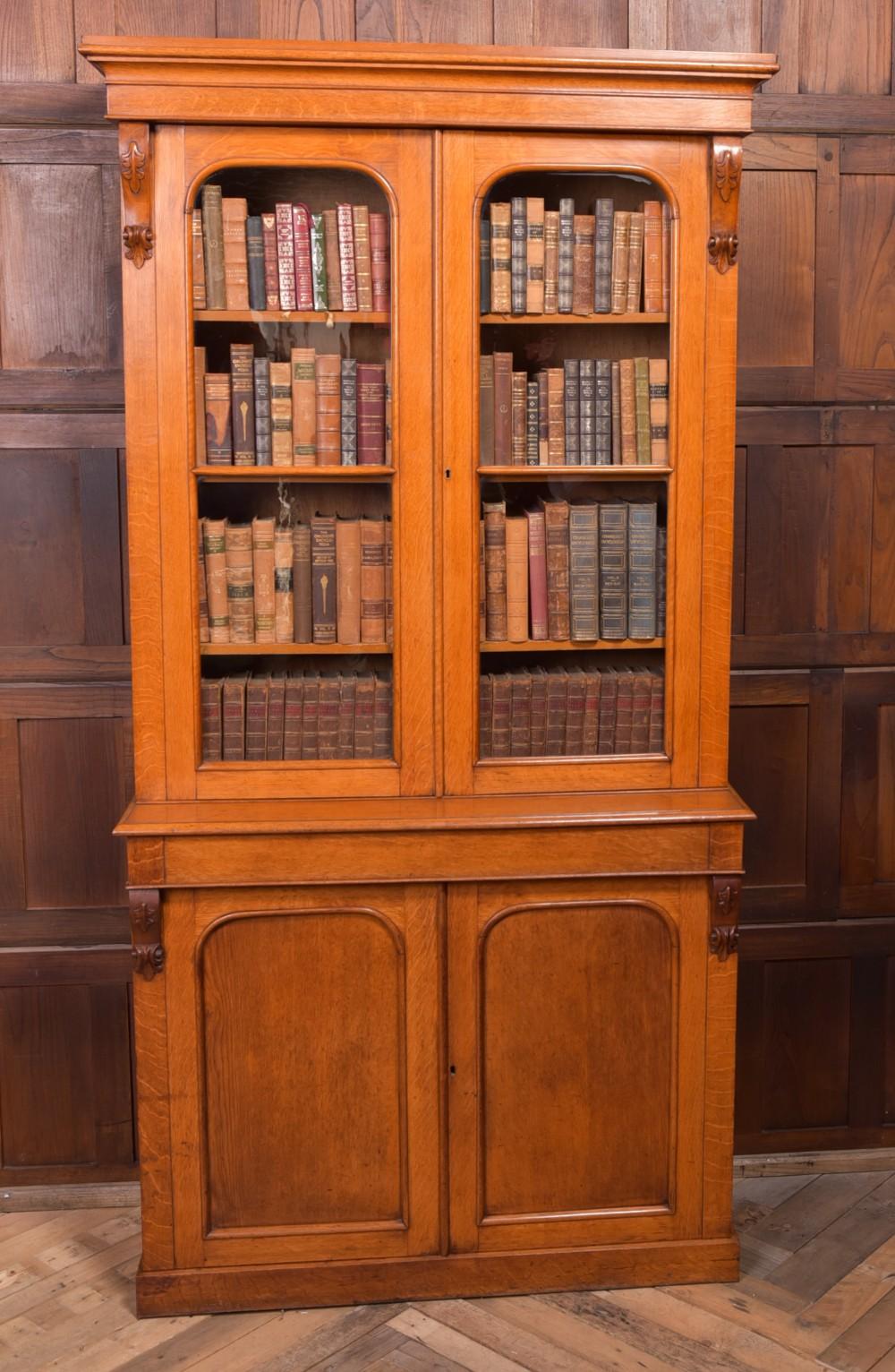 superb victorian honey oak 2 door cabinet bookcase