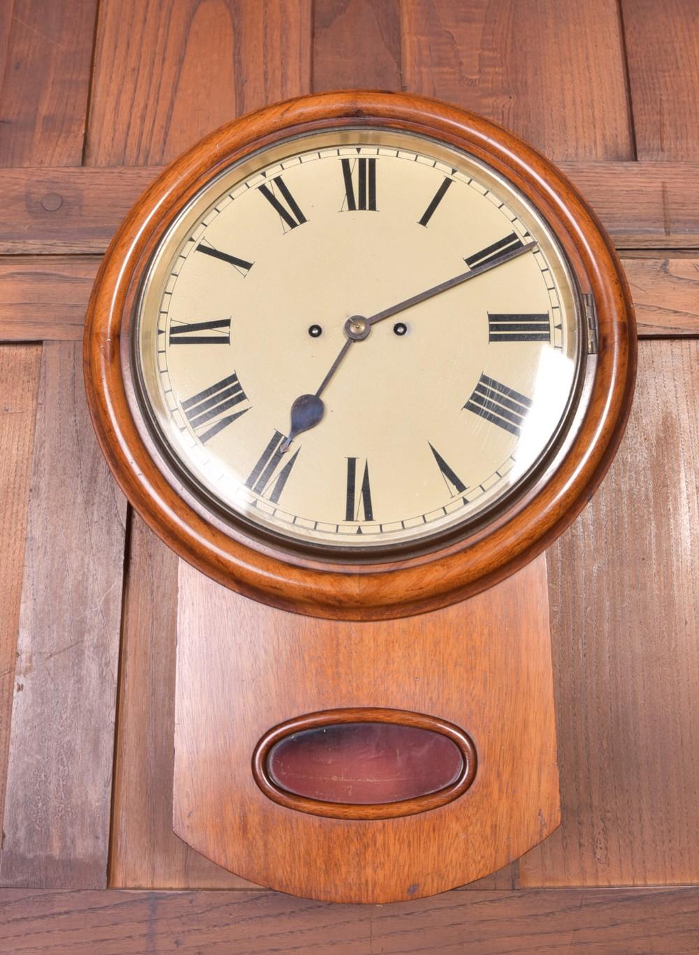 19th century mahogany drop dial fusee wall clock