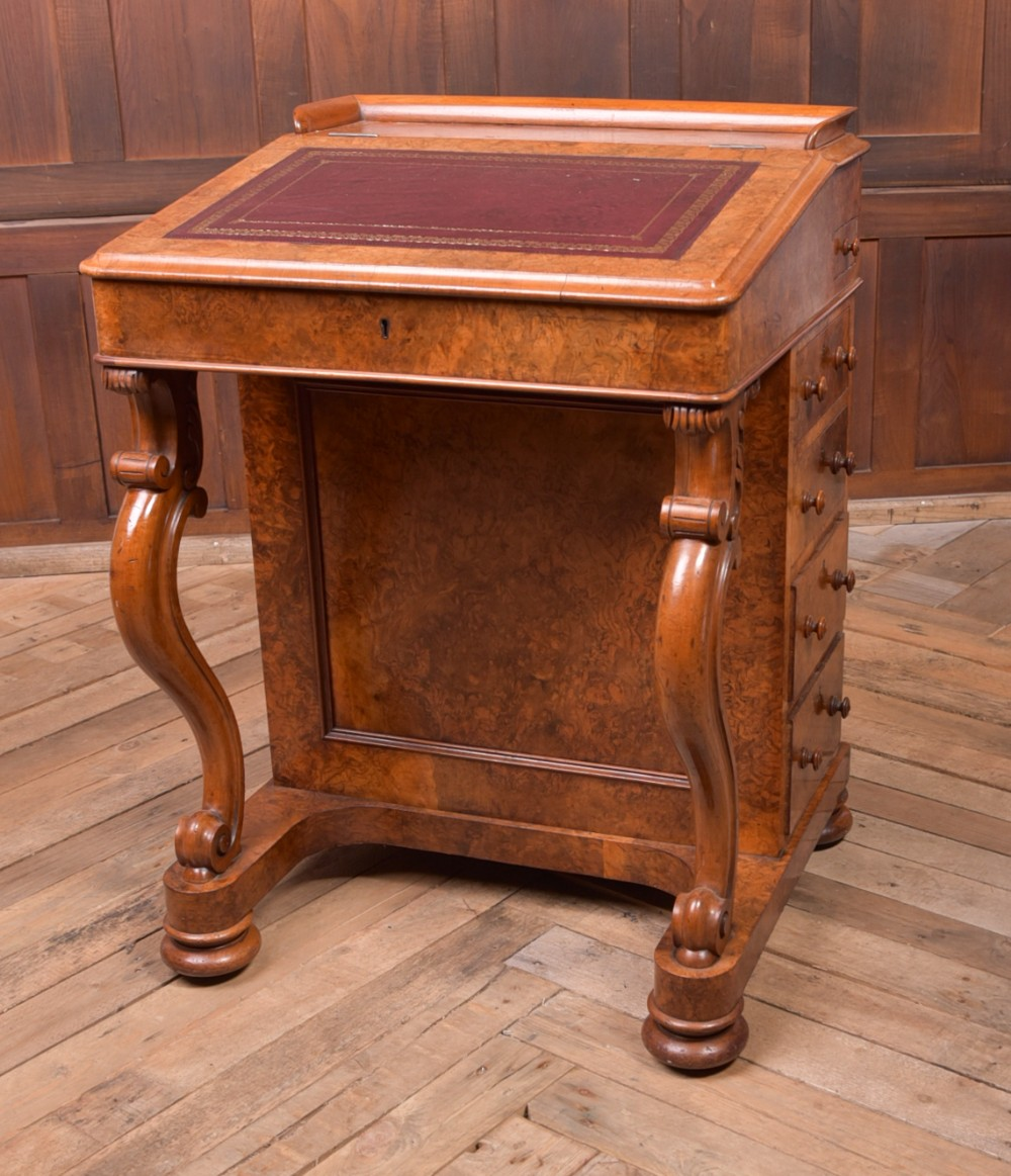 super quality victorian burr walnut davenport desk