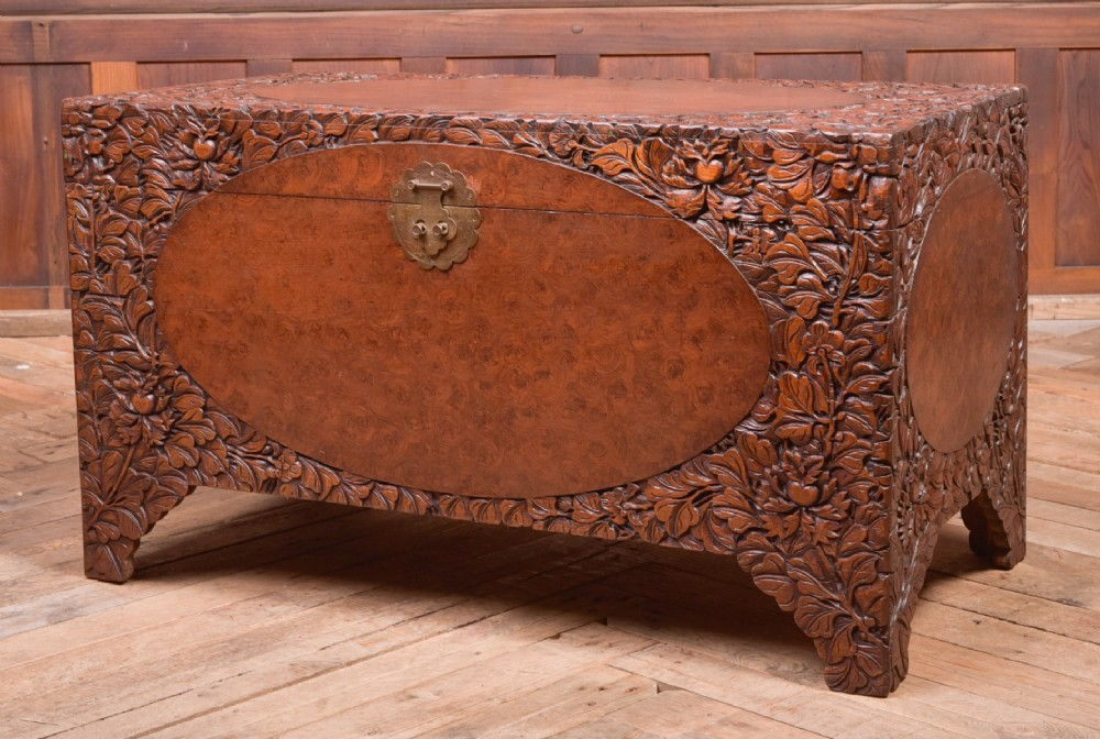 superb 19th century carved chinese camphor wood box