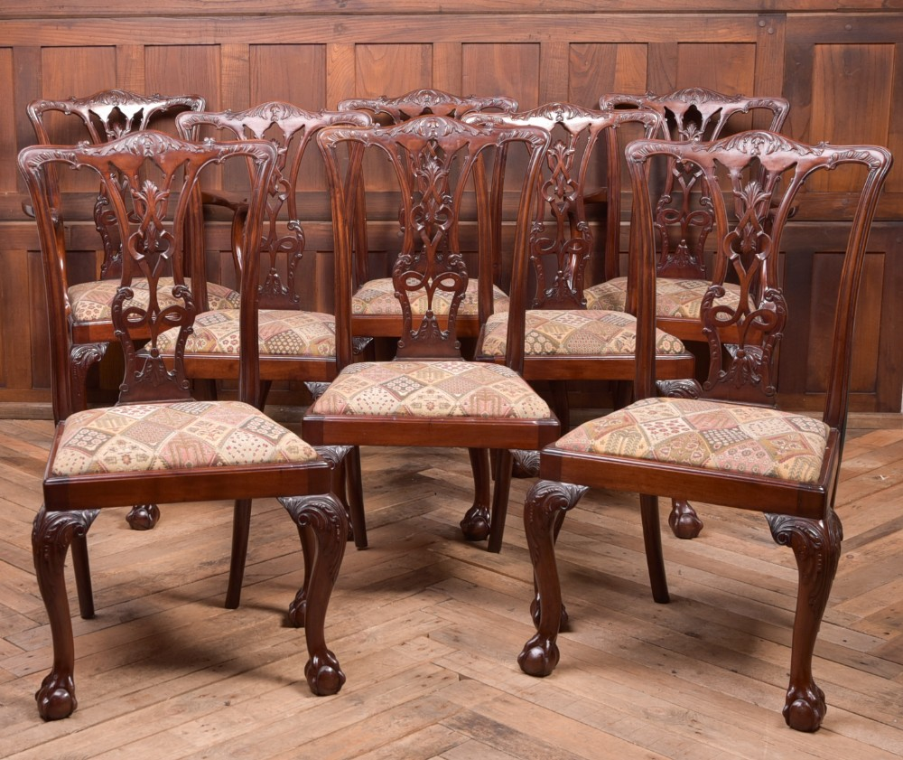 fantastic set of 8 edwardian mahogany chippendale style chairs