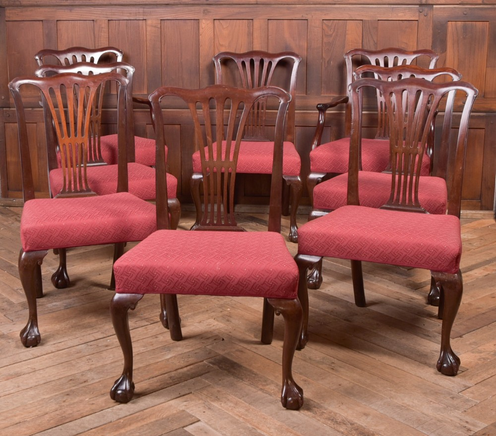 set of 8 edwardian mahogany chippendale style chairs