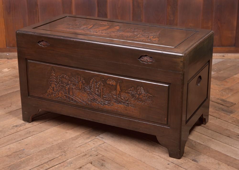 edwardian carved camphor wood storage box