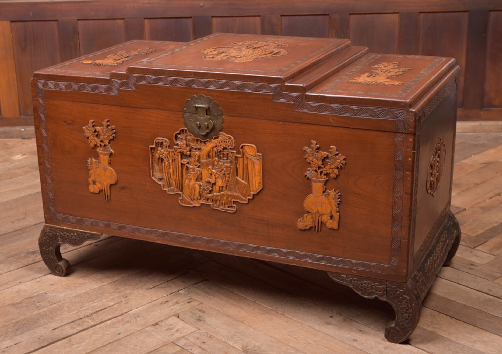 19th century chinese carved camphor wood storage box