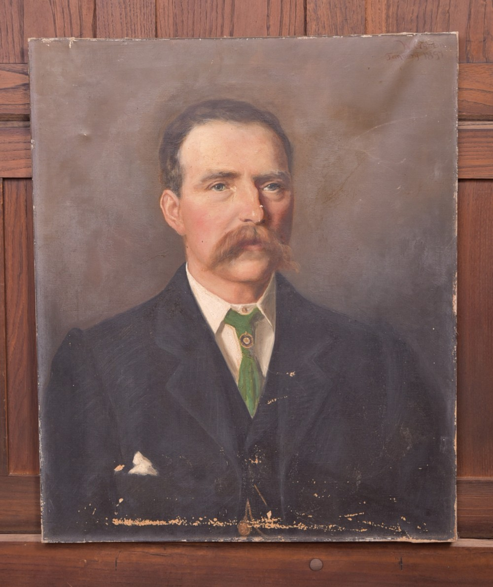 19th century signed oil painting of a gentleman
