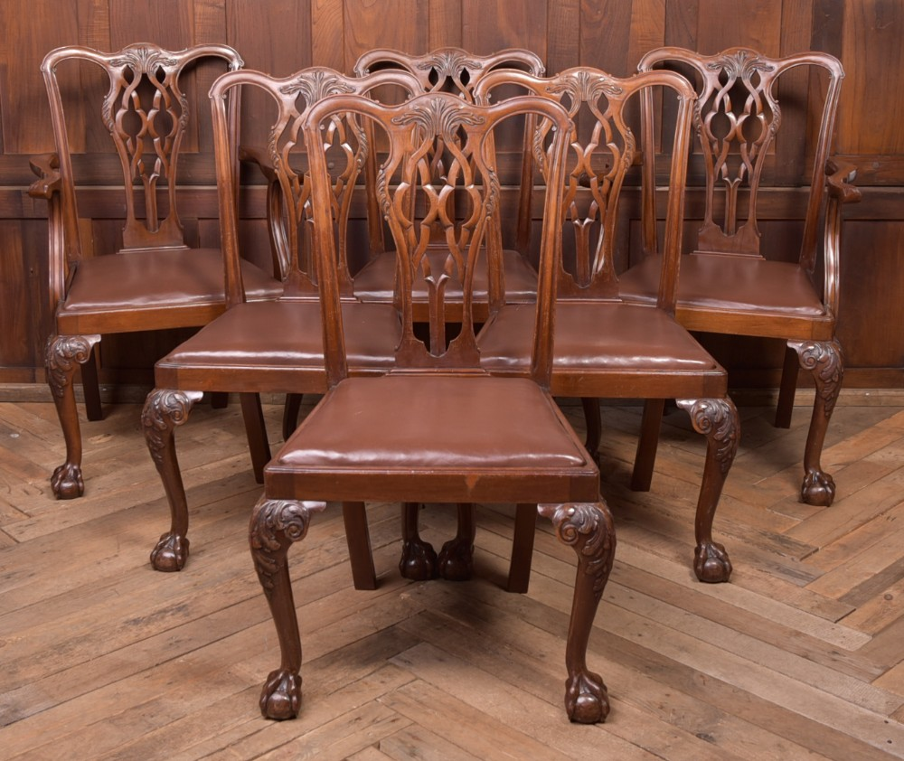fantastic set of 6 carved mahogany chippendale style dining chairs